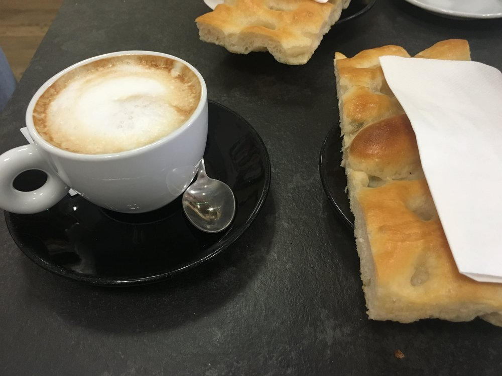 Typical Italian breakfast: Focaccia + Cappuccino. I'm not typically a coffee drinker, but that cappuccino. Wow!!!